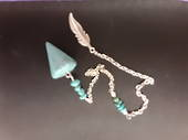 Small Turquoise Howlite Feather Pendulum
