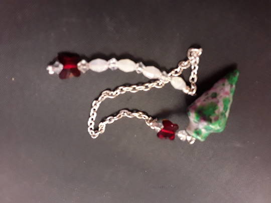 Ruby Fuchsite Plumbob Pendulum with Red Butterflies