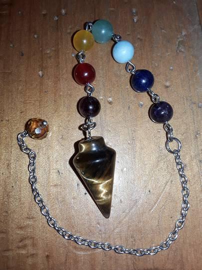 Tigers Eye Pendulum with Chakra Chain (pma10)
