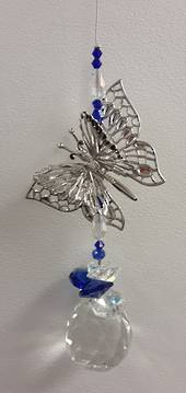 Dark Blue Angled Butterfly Suncatcher