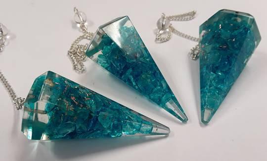 Blue Onyx Orgonite Pendulum