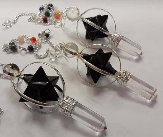 Black Tourmaline Merkaba and Quartz Pendulum