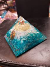 Blue Onyx, Opalite and Quartz Flower of Life Orgonite Pyramid