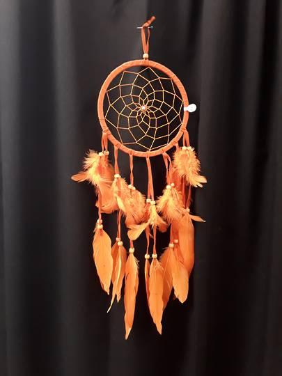 Bright Orange Suede Dreamcatcher