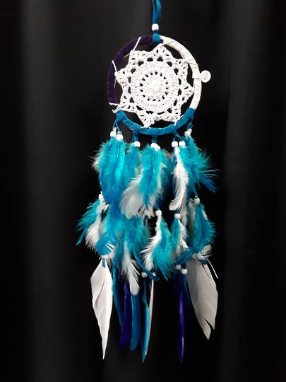 White Teal and Purple Suede Dreamcatcher