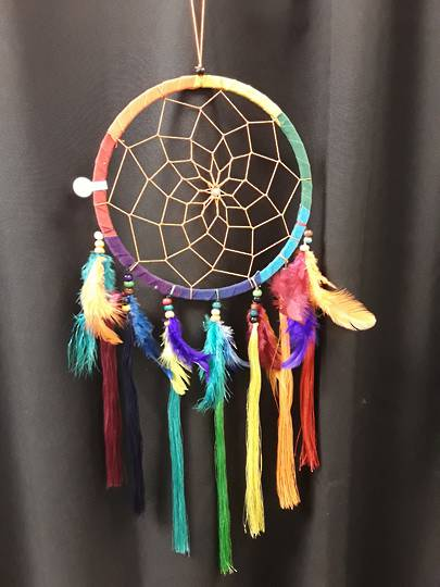 Chakra Tassels and Feathers Dreamcatcher