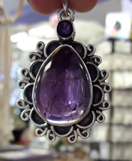 Double Amethyst Teardrop With Sterling Silver Pendant