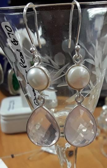 Sterling Silver Pearl & Rose Quartz Earring 50mm drop