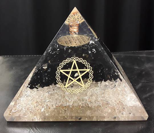 Large Quartz with Black Tourmaline With Pentagram Orgonite Pyramid