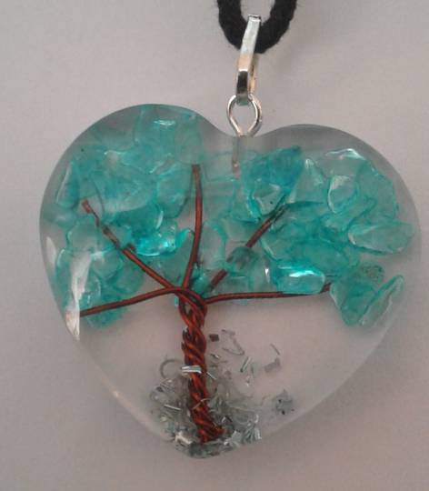 Blue Onyx Orgonite Tree Pendant