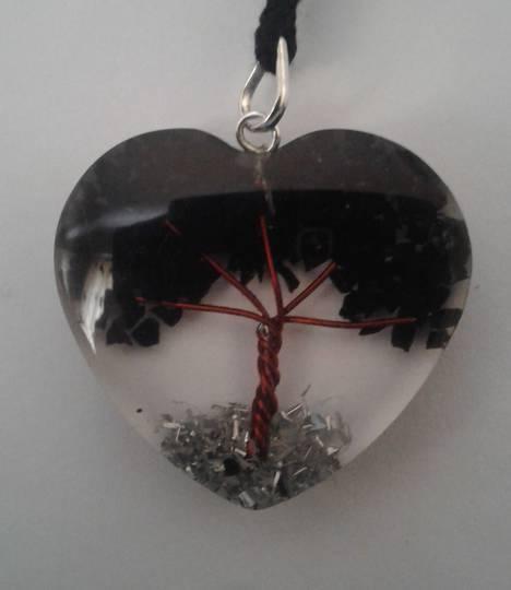Black Tourmaline Orgonite Tree Pendant