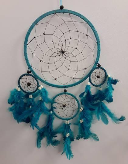 Aqua Dreamcatcher with Bone Beads