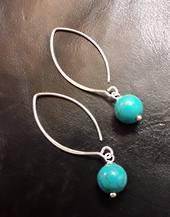 Turquoise Howlite Earrings 4.5cm Drop