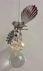 Fantail on Kowhai Gold Suncatcher