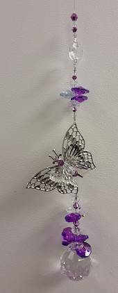 Purple Side Hanging Butterfly Suncatcher