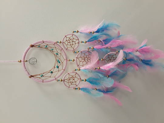 Small Pink Tree of Life with Pink and Blue Feathers