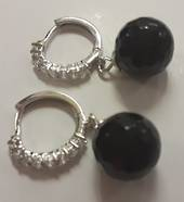 Black Agate Ball Hoop Earrings