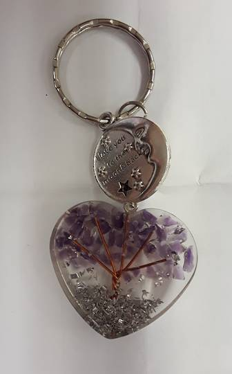 Love You To The Moon and Back Amethyst Orgonite Keyring