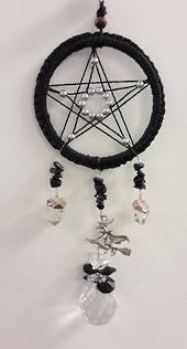 Black Pentagram Witch and Quartz Dreamcatcher Suncatcher