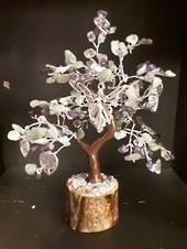 Amethyst and Green Calcite Fairy Wish Tree 17.5 cms