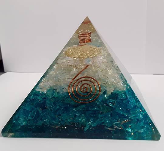 Large Blue Onyx, Opalite and Quartz Orgonite Pyramid
