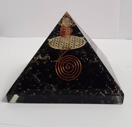 Black Tourmaline and Quartz Orgonite Pyramid