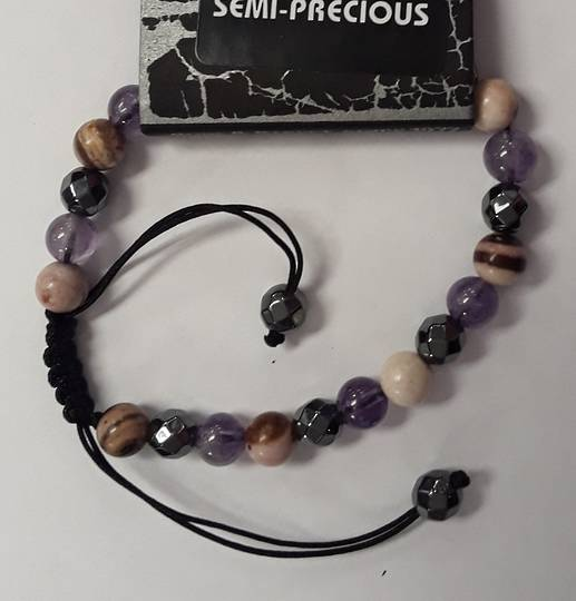 Asorted and Amethyst Crystal Adjustable Bracelet