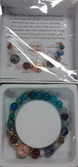 Plantary and Dragon Veins Agate Bracelet