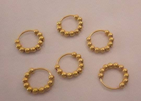 Gold Plated Multiple Ball Nose Ring 6mm