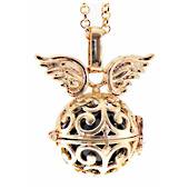 Angel Caller - Curls with Wings locket (gold) Ac22/aegw
