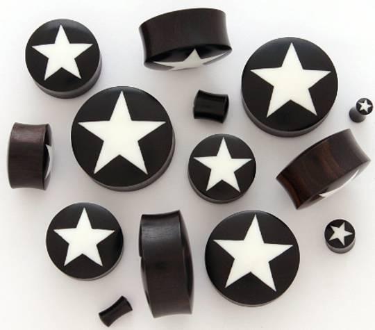 Wooden Star Ear Plugs 26mm