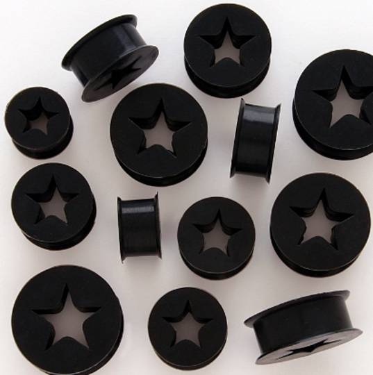 Silicone Black Star Ear Plug 18mm