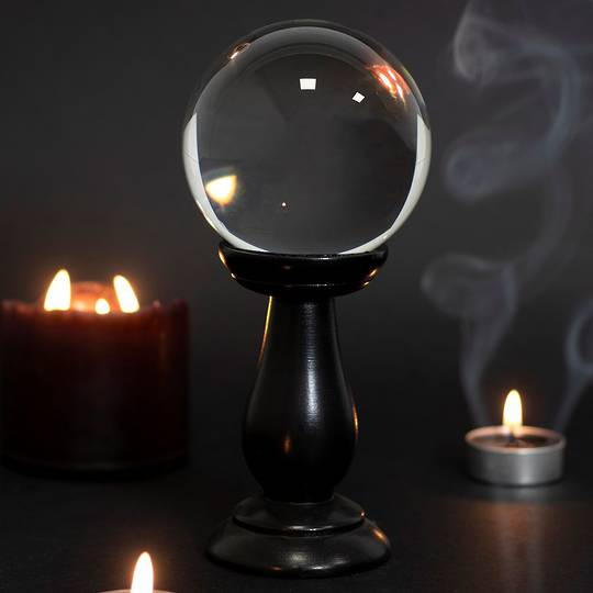 Clear Small Crystal Ball on Wooden Stand 90mm