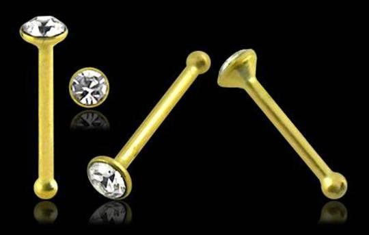 2mm CZ 14kt Gold Bone Nose Stud