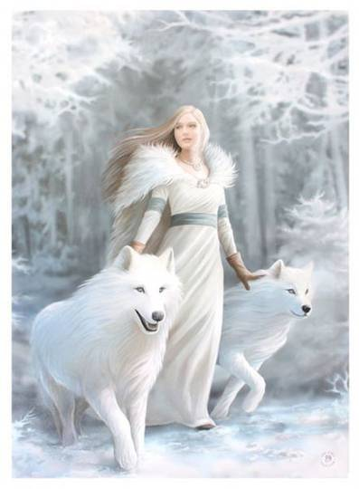 Large Winter Guardian with Wolves Canvas