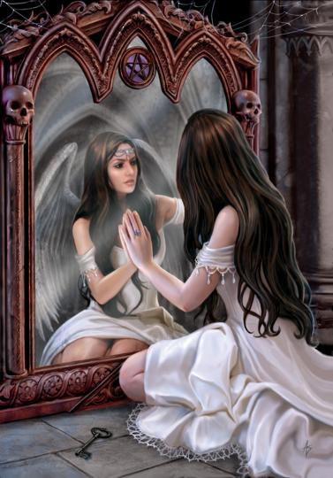 Anne Stokes Greeting Card - Magical Mirror