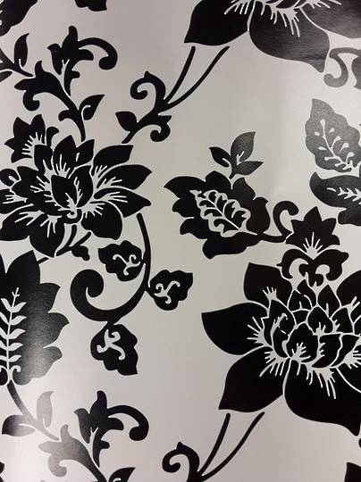 Black Flowers on Cream Free Gift Wrap