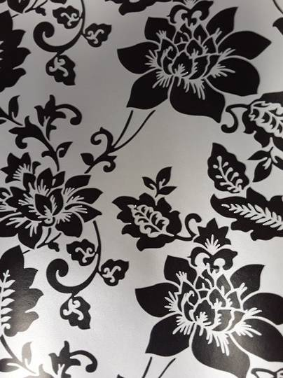 Black Flowers on Silver Free Gift Wrap