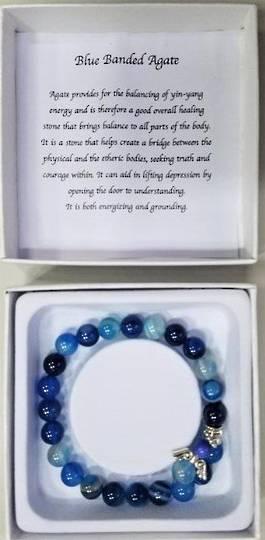 Blue Banded Agate Angel Bracelet