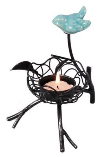 Blue Bird Metal Tealight Holder