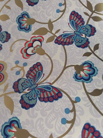 Blue and Red Butterfly Free Gift Wrap