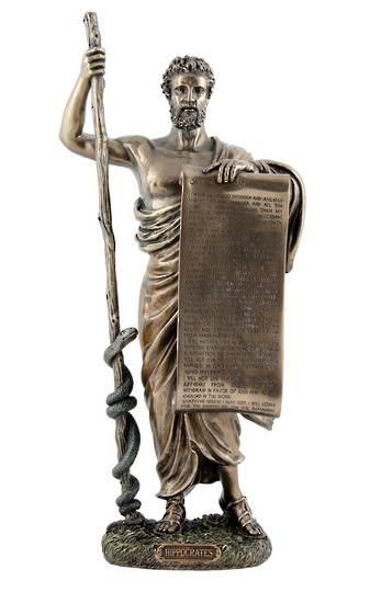 Hippocrates of Kos holding hippocratic oath