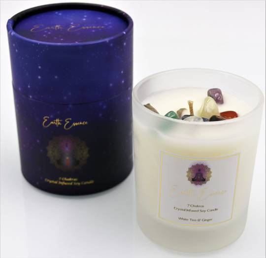Chakra Soy Wax Crystal Candle White Tea & Ginger