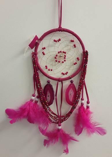 Cerise Beads and Agate Dreamweaver Dreamcatcher