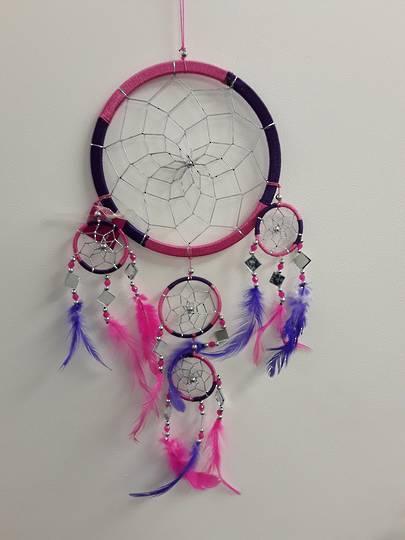 Cerise pink and Purple Mirrors Dreamcatcher 16.5cms