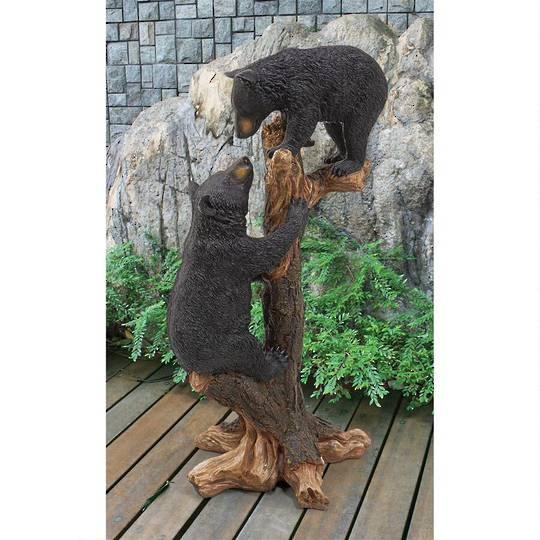 Climbing Cubs Black Bear Garden Statue