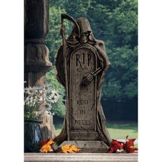 Rest in Pieces Grim Reaper Tombstone Statue