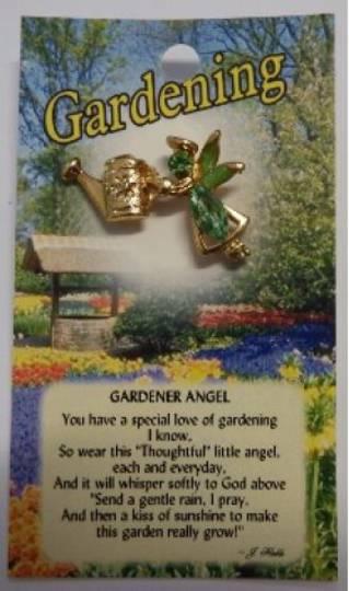Thoughtful Angel Gardening Angel Brooch