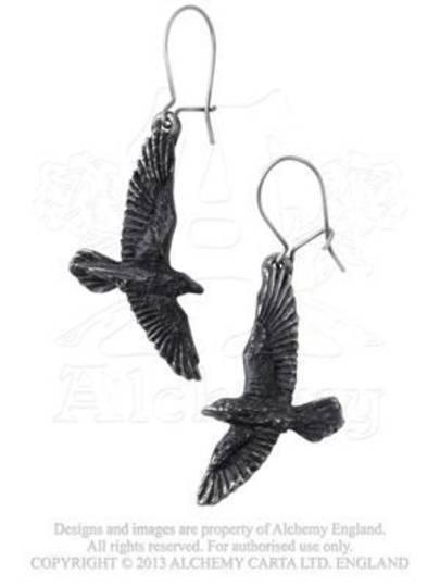 Black Raven Earrings (pair)