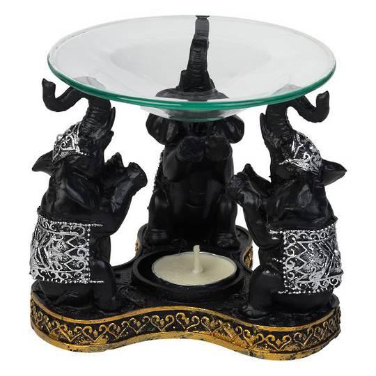 Elephant Black Polyresin Oil Burner